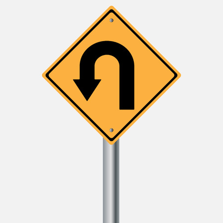 traffic pole: Traffic sign .  U Turn