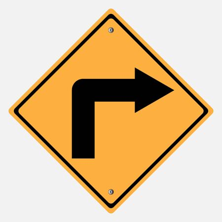 motorist: Traffic sign . Turn right sign  ,  Curves sign Illustration