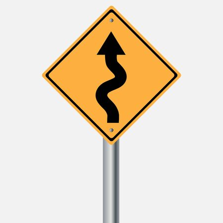 traffic pole: Traffic sign . winding roadsign vector illustration Illustration