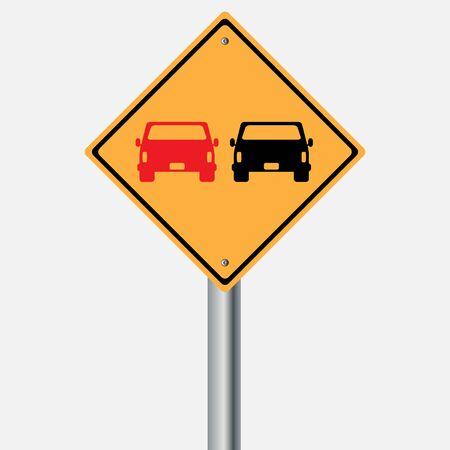 overtaking: Traffic sign . car overtaking