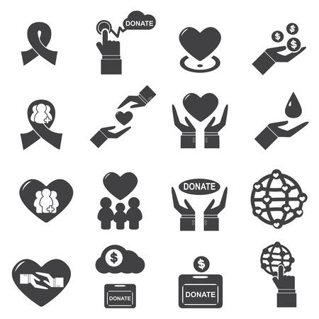 Liefdadigheid pictogram vector silhouet Stock Illustratie