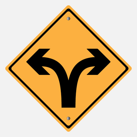 danger sign: Traffic sign . Turn right or Turn left  traffic sign