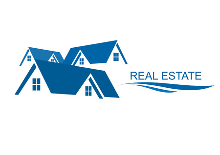 building lot: House Real Estate logo blue design
