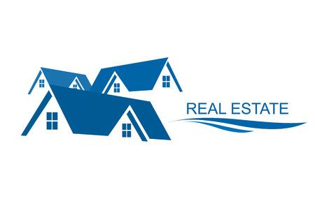 Huis Real Estate logo blauw ontwerp