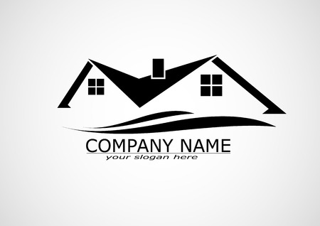 flat roof: House Real Estate logo or icon design