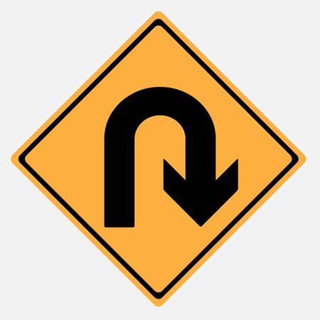 u turn: Traffic sign . U Turn Illustration