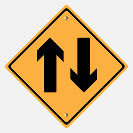 danger ahead: Two Way  Warning Sign