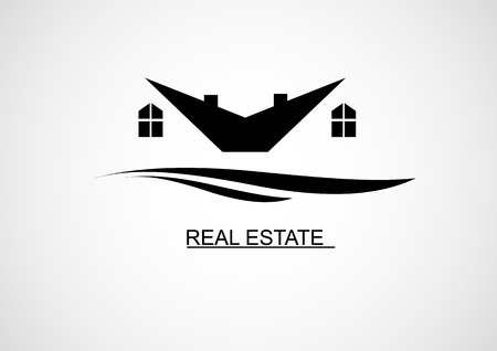 garage on house: House Real Estate logo or icon design