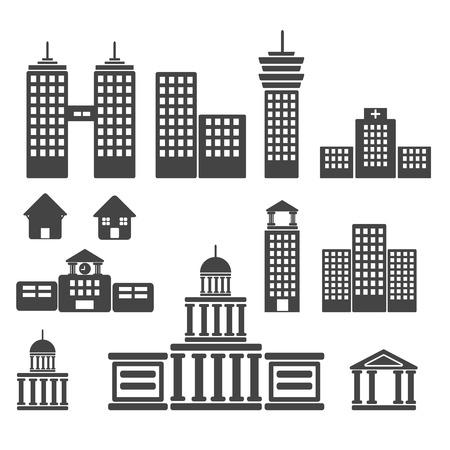 gebouw icon set Illustraties