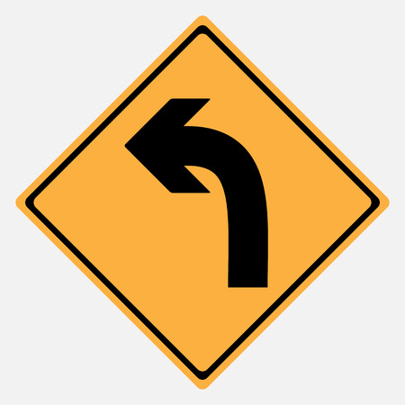 danger sign: Traffic sign . Turn Left