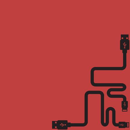 플러그 와이어 케이블 USB 컴퓨터 빨간색 배경 벡터 일러스트 레이 션