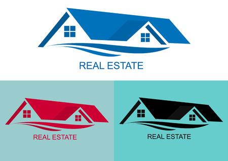 garage on house: House Real Estate logo blue design