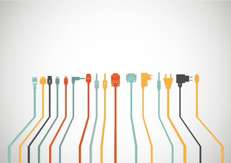 Plug Wire Cable Computer icons set Ilustrace