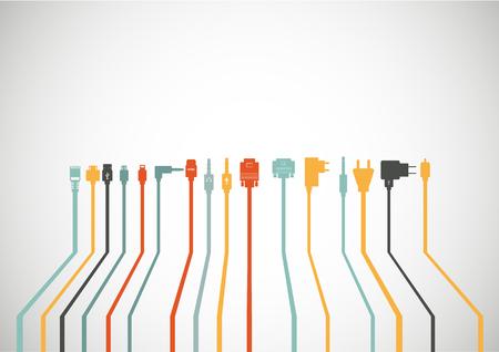 Plug Wire Cable Computer pictogrammen instellen