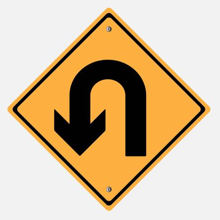 u turn sign: Traffic sign . U Turn Illustration