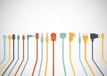 플러그 와이어 케이블 컴퓨터 아이콘을 설정 일러스트