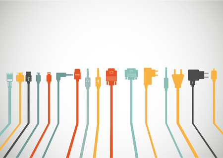 Plug Wire Cable Computer icons set Illustration