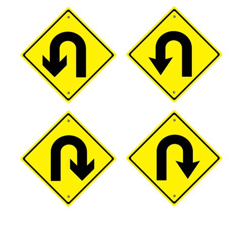 u turn: traffic sign yellow U Turn Sign