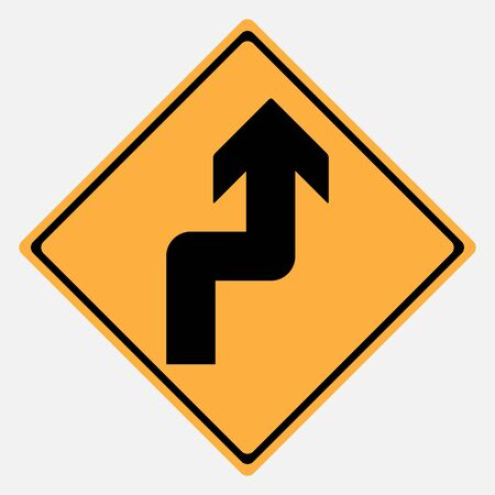 motorist: Traffic sign . Narrow Curves sign Illustration