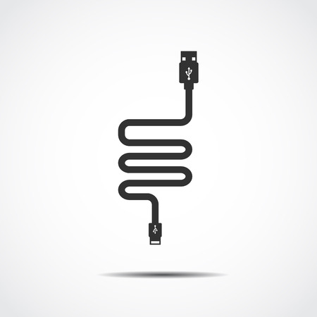 network connection plug: Plug Wire Cable USB Computer  vector illustration Illustration