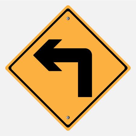 turn left sign: Traffic sign . Turn left sign  ,  Curves sign Illustration