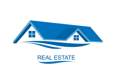 Huis Real Estate blauw ontwerp