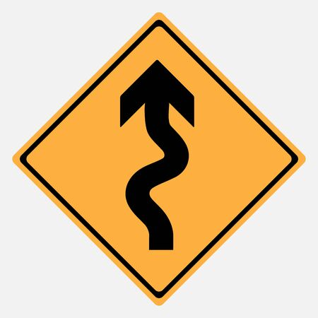 Traffic sign . winding roadsign vector illustration Illustration