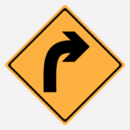 danger ahead: Traffic sign . Turn Right