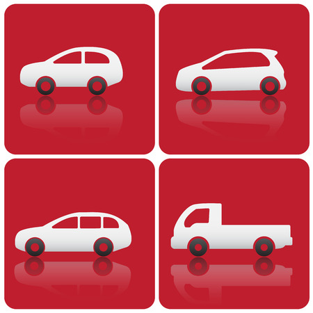 racing sign: car icons red background Illustration