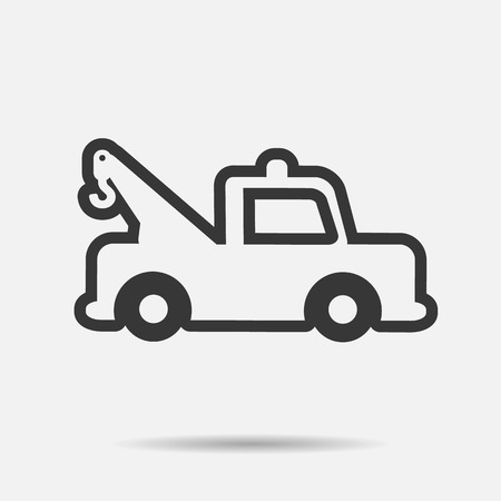 tow car: Car icon tow car line vector illustration