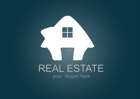 manor house: House  Real Estate logo icon  white design Illustration