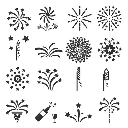 fireworks: firework icon set vector illustration