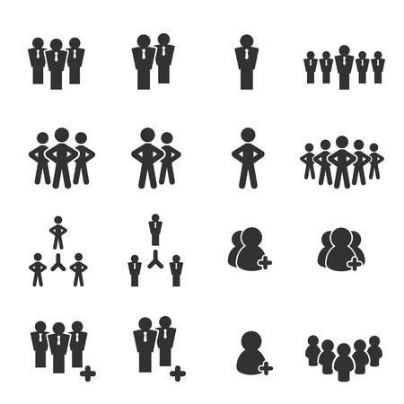 two people meeting: team icon set vector illustration