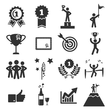 achieve: success icon set vector illustration Illustration