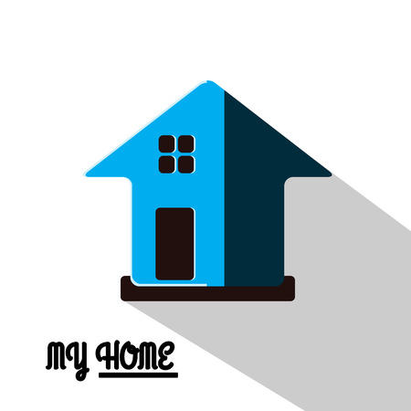 flat roof: House Real Estate  icon blue design