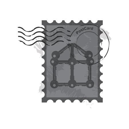 postzegels poststempel, vintage postzegels vector illustratie