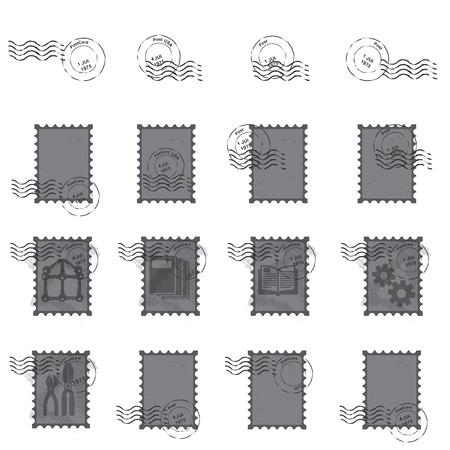 postage stamps: stamps  postmark ,  vintage postage stamps vector  illustration