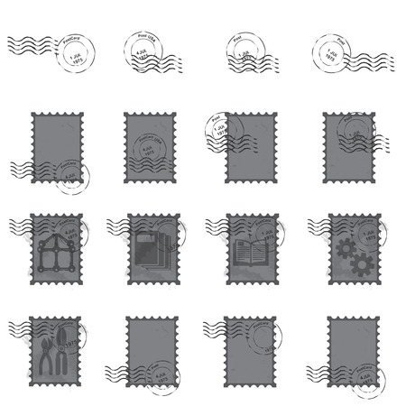 stamps  postmark ,  vintage postage stamps vector  illustration