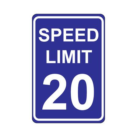 traffic violation: Speed Limit Sign  Blue Illustration