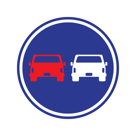 overtaking: traffic sign . car overtaking sign