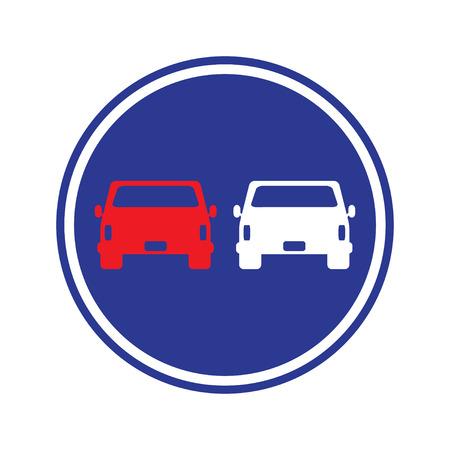 overtaking: traffic sign . car overtaking sign