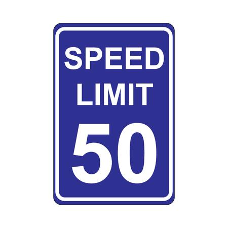 enforced: Speed Limit Sign  Blue Illustration