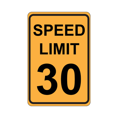 enforced: Speed Limit Sign  Yellow Illustration