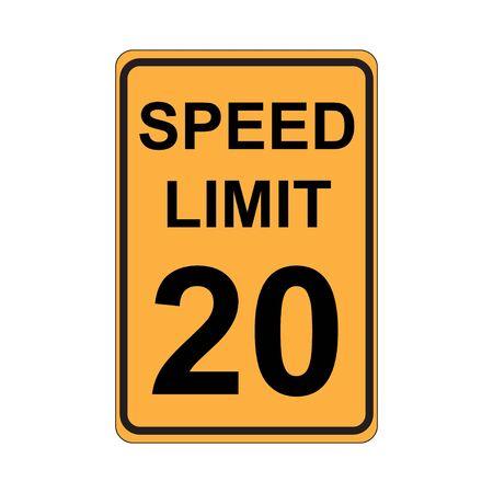 traffic violation: Speed Limit Sign  Yellow Illustration
