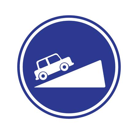 交通: 交通標識。急勾配の丘交通標識  イラスト・ベクター素材