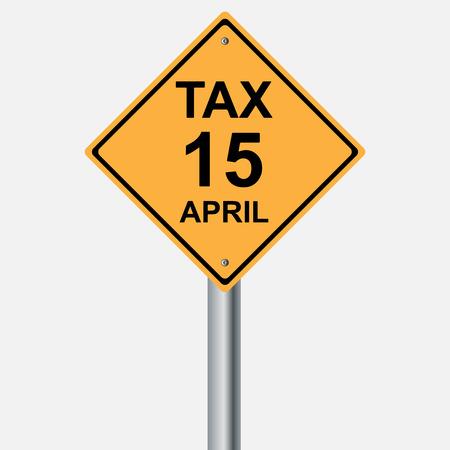 yield sign: tax sign 15 april Illustration