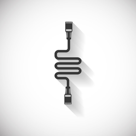 rj45: Lan  Wire Cable Computer Icon , Long Shadow Illustration