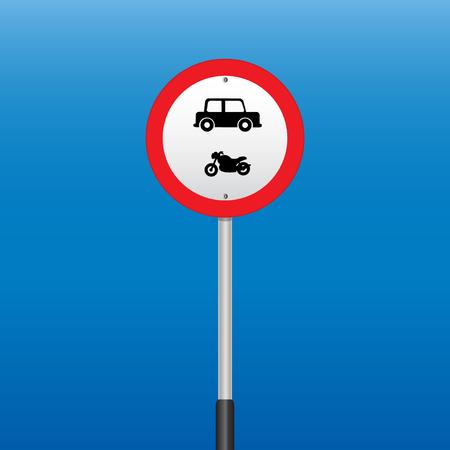 interdiction: Signe d'interdiction de voiture de moto. illustrations vectorielles Illustration