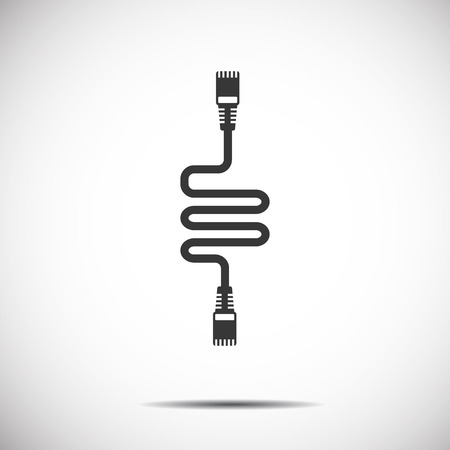 Lan  Wire Cable Computer Icon Illustration