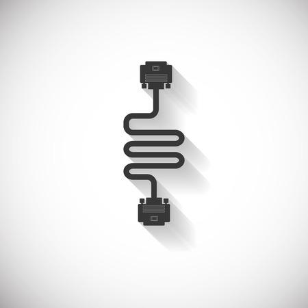 vga: VGA cable de alambre Icono de ordenador, Sombra Larga